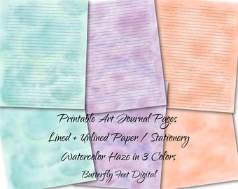 Printable Art Journal Pages, 8 x 10 Unlined and Lined Paper, Printable Stationery, Watercolor Background, Instant Digital Download