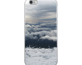 Nature inspired iPhone Case Accessories above the clouds mountains. Natural elements