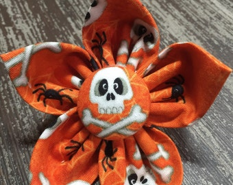 Flower Collar Attachment & Accessory for Dogs and Cats -  HALLOWEEN Orange Skull and Cross Bones