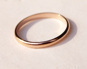 Simple 18K Rose Gold Ring (Thin), Smooth ring, Engagement Ring, Gloss Ring