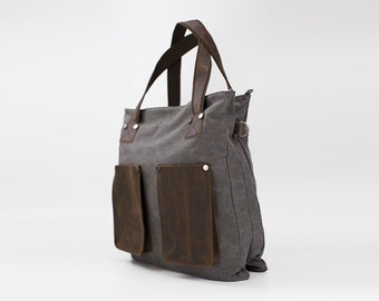 Vintage Style Double Pocket Leather Canvas Tote