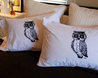Owl Pillowcase Pair Black on White