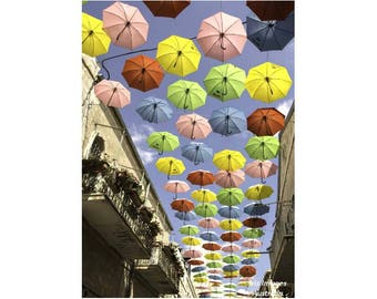 Umbrella Street, Jerusalem GREETING CARD