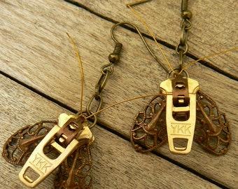 Steampunk Moth Zipper Earrings