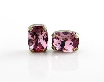 Swarovski Cushion Cut Stone Stud Earrings ~ Antique Pink. Gift for Her. Holiday Gift. Simple Modern Jewelry