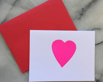 Neon Pink Letterpress Heart, Single Card with Envelope