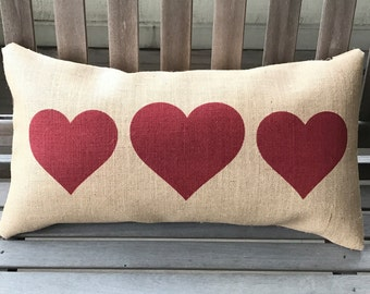 Hearts Burlap Pillow - Valentines Pillow - Heart Decor - Gift for Her *SHIPS Within 3 DAYS!