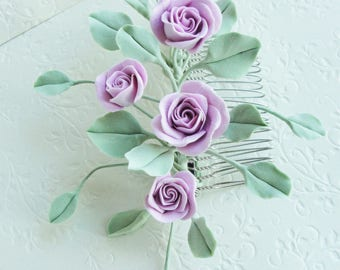 Mint Green Pink Rose Flower Collage hair Comb. Bridal Wedding Flower Hair Comb, Bridesmaid Gift, Country Cottage Wedding,