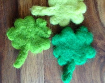 Shamrocks green four leafed clover lucky charm soft wool needle felted Waldorf Ireland Irish St. Patricks day shamrocks luck party favour