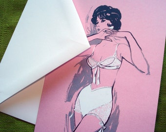 Pin Up Notecards Blank Inside - '60s Fashion Illustration - Set of 8 - Ready to Ship