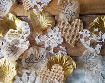 Gold Bridal Shower Table Decor Confetti~Rustic Table Decorations for Wedding~Burlap and Lace Flower Petals~Sweetheart Table ~Aisle Runner