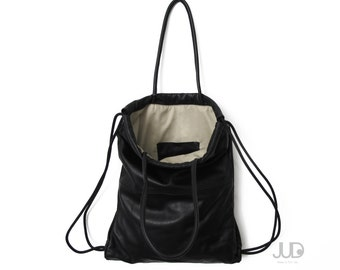 Black leather backpack tote multi-way leather bag soft leather tote SALE laptop bag leather drawstring backpack leather rucksack tote