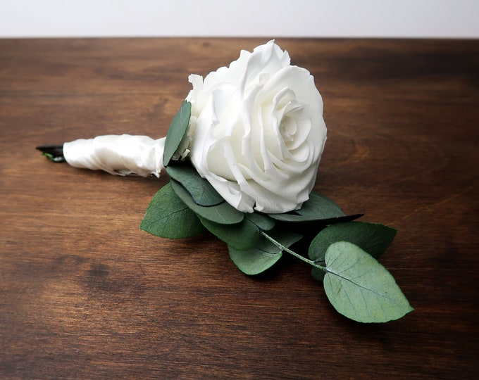 White preserved rose Preserved wedding boutonniere green eucalyptus real rose hydrangea elegant boho boutonniere for groom single flower