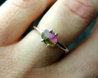 Tourmaline Ring Watermelon Tourmaline Ring Tourmaline Slice Ring Green Tourmaline Ring Pink Tourmaline Ring Unique Ring Tourmaline Jewelry