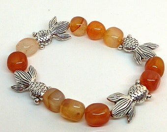 Carnelian nugget and Pewter Oriental Goldfish Stretch Bracelet Boho Style