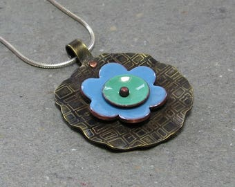 Blue, Green Enamel Necklace Etched Brass Riveted Sterling Silver Chain Flower Pendant Gift for Mom Mixed Metal Necklace