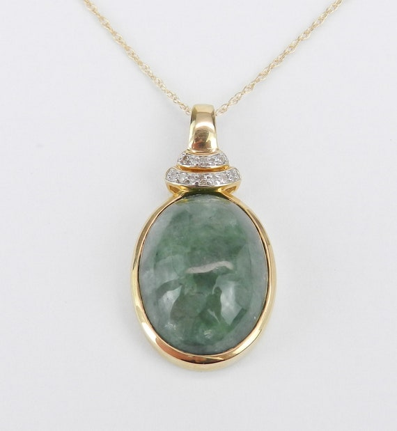 "Diamond and Jade Pendant Necklace 14K Yellow Gold 18"" Chain Healing Gemstone"