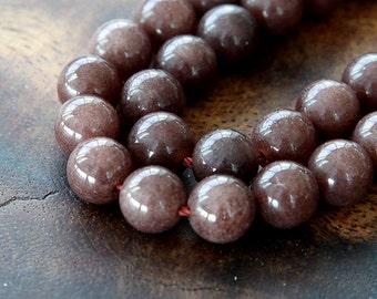 Mountain Jade Beads, Coffee Brown, 6mm Round - 15.5 Inch Strand - eMJR-N14-6