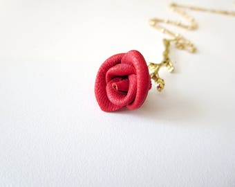 Rose necklace -3rd anniversary gift -Flower  necklace- Red  Rose Pendant -leather  jewelry -Statement Necklace