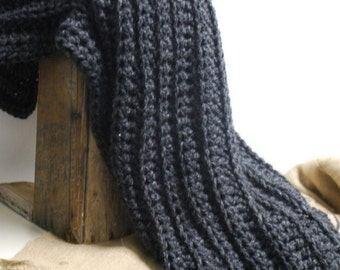 Charcoal Accent Throw Afghan Wool Luxurious Oversize Texture