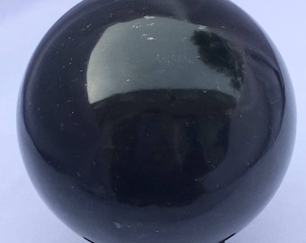 Dark green Nephrite Jade Sphere 63mm 484grams