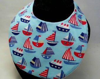Baby's drool bib, blue sail boats, dribble bib, newborn gift, baby boy, newborn baby, teething bib, baby gift, baby shower gift,  round bib,