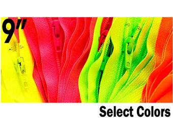 ZipperStop Wholesale Distributor YKK® Ten 9 inch YKK Zippers-Neon Colors # 3 l Closed Bottom-Select Your own Color(10 Zips per Color)