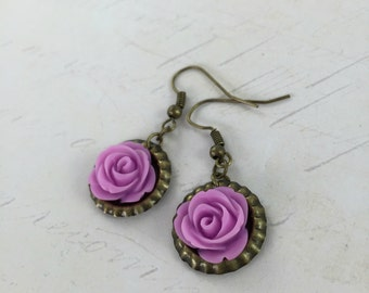 Lilac Purple Rose Bottle Cap Dangle Earrings // Bridesmaid Gift Idea // Handmade Christmas Gift
