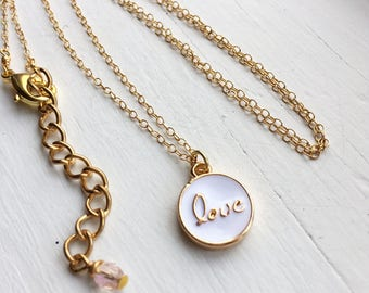 Gold Love Charm Pendant Necklace