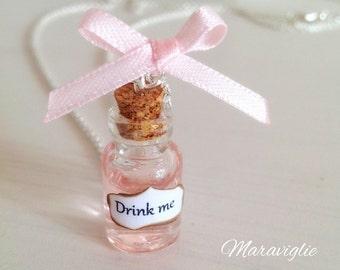 Drink Me Bottle Necklace - Alice in Wonderland Necklace, Drink Me Necklace, Potion Necklace
