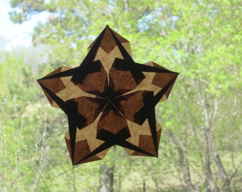Brown Window Star Made with Translucent Kite Paper