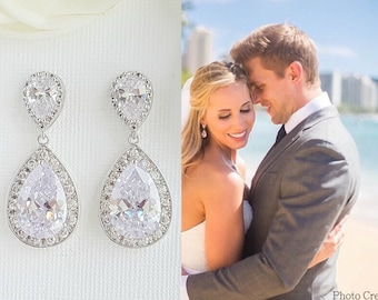 Bridal Earrings, Crystal Wedding Earrings, Silver Zirconia Earrings, Teardrop Earrings, Crystal Drop Earrings, Wedding Jewelry, Evelyn