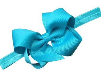 Turquoise baby headband - turquoise bow headband, newborn headband, baby bow headband, baby girl headband, turquoise headband, baby bows