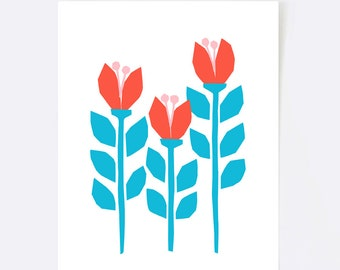Scandinavian art flower, folk art, minimalist print, scandinavian print, floral print, minimalist art, pink, yellow, blue, botanical