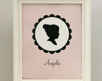 Personalized Custom Silhouette Print made from your photo - with Scallop Border - Silhouette Portrait by Simply Silhouettes