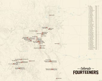 58 Colorado 14ers Map 18x24 Poster