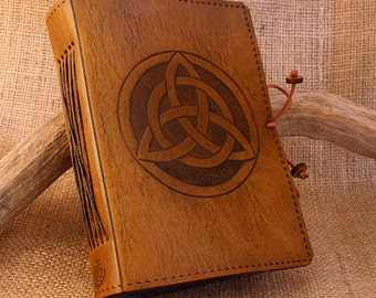 A6, Standard, Leather Bound Journal, Triquetra Journal, Celtic Knot Diary, Brown Leather, Book of Shadows, Leather Notebook, Personalized.