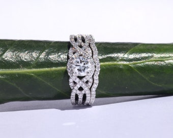 Matching wedding band for Twist Of Fate engagement ring Flower ring wedding band - 14k - Beautiful Petra Rings - BP024