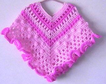 Toddler Girl Poncho Crochet Pattern Granny Ruffle Pink