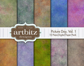 """Picture Day, Vol. 1, 10 Piece Photo Background Digital Scrapbooking Paper Pack, 12""""x12"""", 300 dpi .jpg, Instant Download!"""