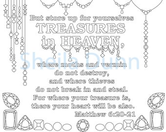 Christian Coloring Page: Treasures in Heaven Featuring Bible Verse