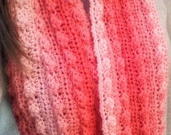 Sea Coral Pink Ombre Crochet Infinity Scarf