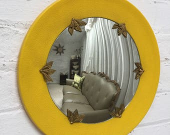 Art Deco modernism wall hanging yellow plastic glass & brass convex mirror from France