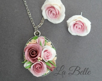 Set with roses. polymer clay. pendant and studs. Polymer clay Flowers. Roses earrings. Roses jewelry. Clay roses. Clay jewelry. Shebbie chik