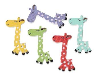 set of 10 wooden giraffe buttons