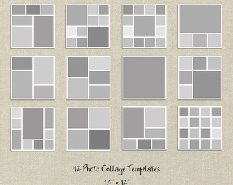 12 Square Storyboard Templates, Photo Collage Templates, Layered Digital Collage, PSD Photographer Templates, 12x12, Digital Scrapbooking