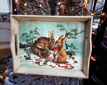 """Great Vtg Wooden Handled Bunny Serving Tray Painted White Distressed W 15"""" x H 11.5"""" x D 2"""""""