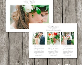 Photography Packages & Pricing Guide - Studio Price List Template - Marketing Card for Wedding, Senior, Newborn Photographers - PG07