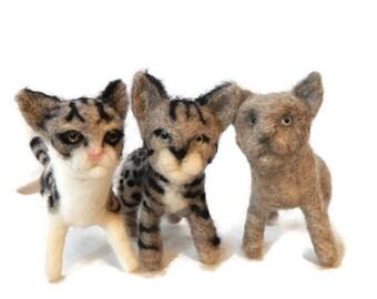 THREE Custom needle felted Cats  -  Cat soft sculpture - Savanna Cat- Kitten Sculpture - Scottish Artist BenMcfuzzylugs