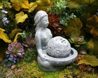 Moon Goddess Statue - Lunar Goddess Offering Sculpture - Moon Gazing Concrete Garden Art